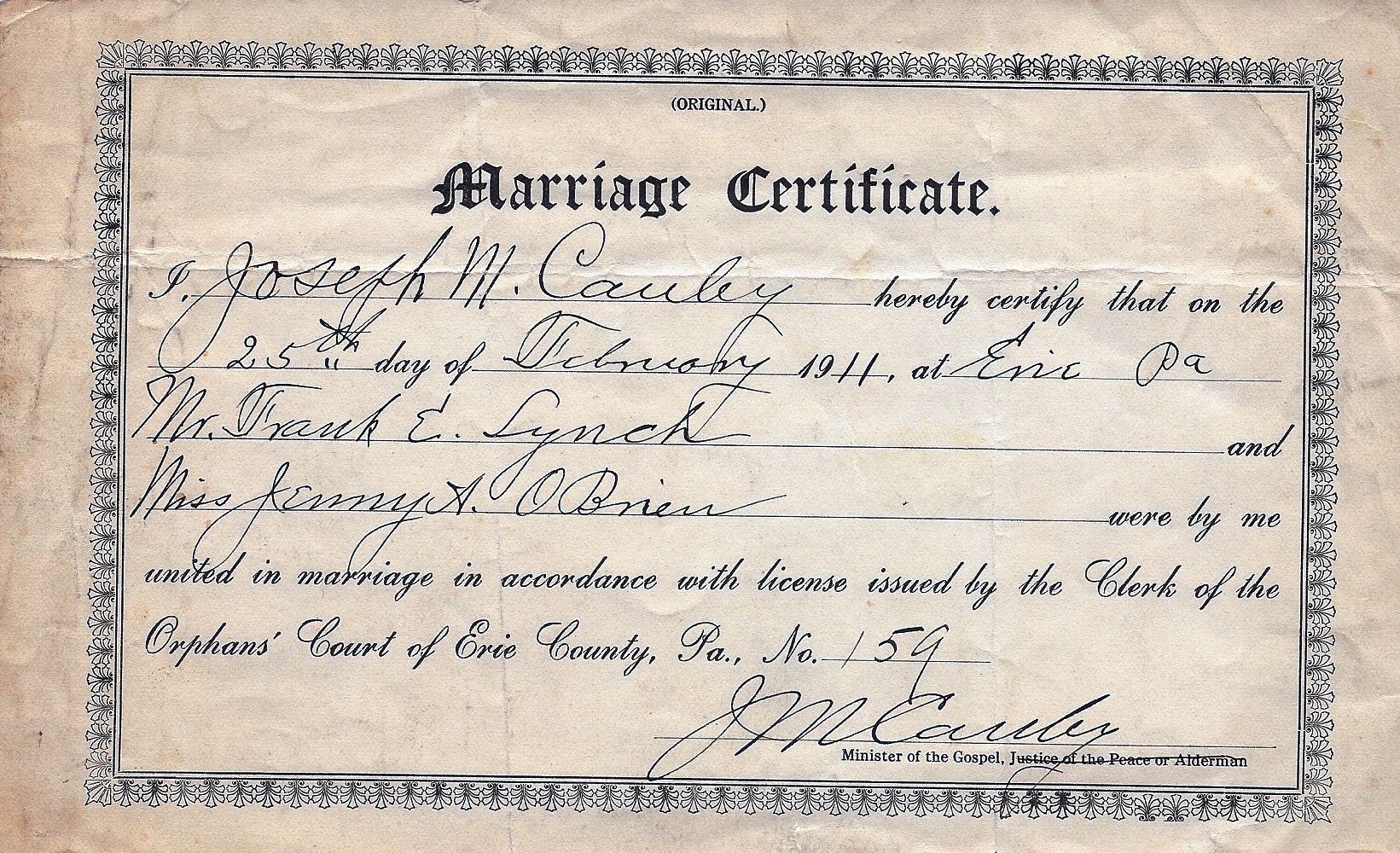 How To Get A Marriage License With Pictures: Ancestors Of Francis Edward (Frank E.) Lynch