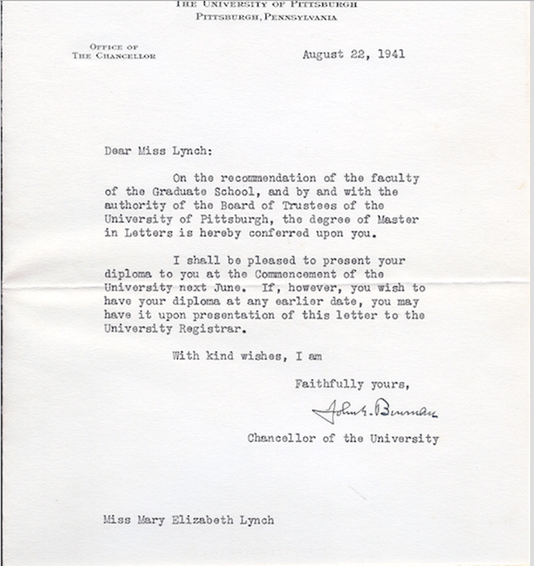 betty lynchs letter from the chancellor of the university of pittsburgh
